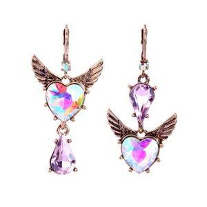 Pink Heart Angel Wing Earrings New